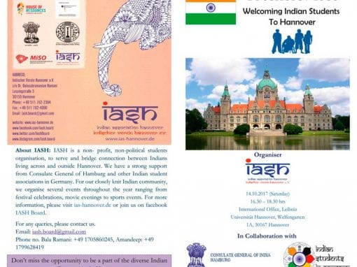 Freshers Meet FLYER in IASH  Welcoming Indian Students to Hannover