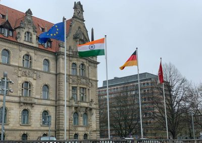 india days-march-22-day-2-1 The Indian and the German Flag flying high at the Rathaus — in Hanover, Germany-iashannover