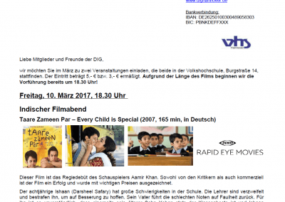 DEUTSCH-INDISCHE GESELLSCHAFT e.V. – March Events