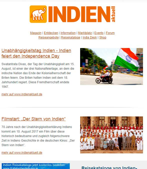 INDIEN aktuell Newsletter – August 2017